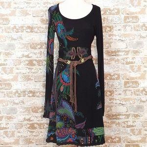 Desigual Black Long Sleeve Scoop Neck Dress